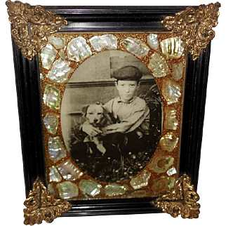 Vintage Photo of Boy and Dog in Ornate Frame
