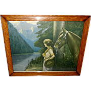 Lady with Horse Vintage Print in Oak Frame