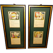 Pair of Vintage Music Lesson Prints in Wood Frames