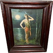 Charles Relyea Indian Maiden Vintage Calendar Print in Wood Frame