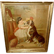 Carl Arnold Chromolithograph of The Pet's Toilet - Girl Dressing Dog