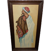 Folk Art of Middle Eastern Man Dated 1914