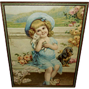 Chromolithograph of Young Girl with Kittens and Puppy