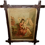 Chromolithograph Dated 1880 of Happy Hours - Mother and Child