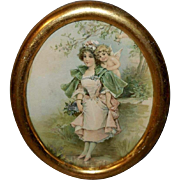 Frances Brundage Chromolithograph of Lady with Cherub