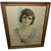 Lovely Art Deco Style Lady in Wood Frame