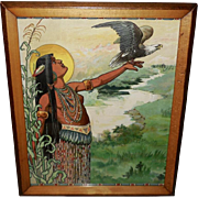 Embossed Indian Maiden with American Bald Eagle