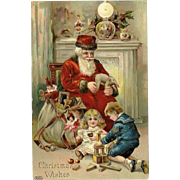 Chromolithograph Gel Christmas Postcard of Santa Claus and Children with Bag of Toys