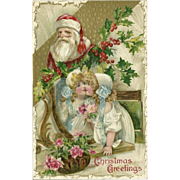 John Winsch Embossed Christmas Postcard with Santa Claus and Young Girl