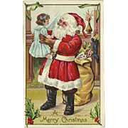 Embossed Christmas Postcard of Santa Claus and Bag of Toys
