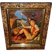Gene Pressler Pirate Lady with Treasure Chest - Eastlake Frame