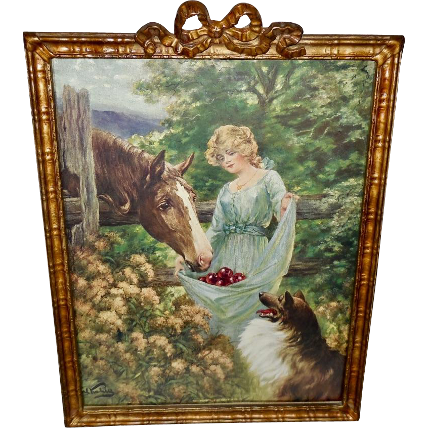 Carl Kahler Vintage Calendar Print of Horse, Collie, and Lady