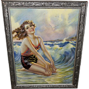 Mabel Rollins Harris Vintage Print of Beauty on the Beach