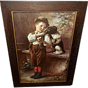 Warner Vintage Print of Boy Sharing with Dog - Split Rations