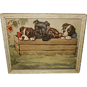Sidney Z. Lucas Vintage Print of Four Puppies and Grasshopper