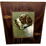 English Setter Dog Copyright 1902 in Iconographic Wood Frame