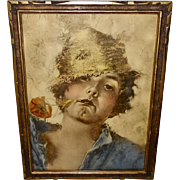Vincent Irolli Vintage Print of Boy with Poppy Flower