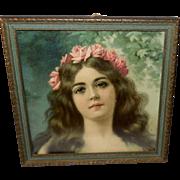 Small Chromolithograph Head Shot of Art Nouveau Style Woman