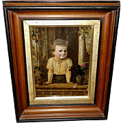 Crystoleum Print on Glass of Young Child in Deep Frame