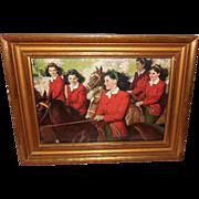 Andrew Loomis Calendar Print of Dionne Quintuplets on Horseback