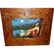 Charles Relyea Indian Maiden in Pyrography Indian Symbol Frame