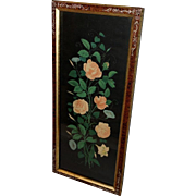 Chromolithograph of Morning Glories and Roses in Eastlake Frame