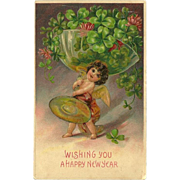 Embossed New Year Postcard with Cherub and Champagne Glass