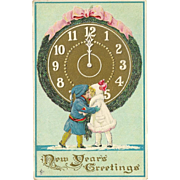 Embossed New Year Postcard Two Children Kissing 1911