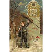 Embossed German Postcard Boy with Broom New Year's Greetings