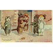 Maurice Boulanger 1909 Postcard of Singing Cats