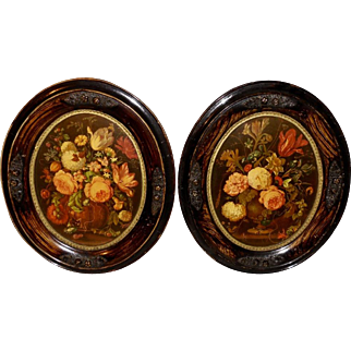 Two Textured Floral Prints in Oval Acorn Frames
