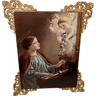 Saint Cecelia Vintage Print on Glass with Ornate Brass Attachments