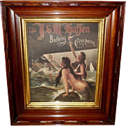 Advertising Mermaid Calendar Print Early 1900's for J & M Haffen Brewing Company