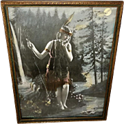 Indian Maiden Vintage Tinted Photo Print in Two Tone Frame