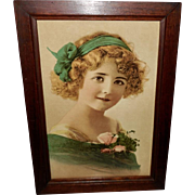 Chromolithograph of Young Blonde Girl in Turquoise