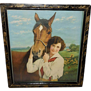 Vintage Calendar Print of Lovely Lady with her Horse titled Chums