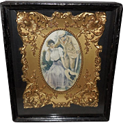 Shadow Box with Inner Gold Gilt Frame Romantic Couple - 1 of 2