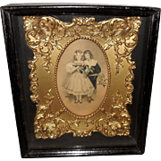 Shadow Box with Inner Gold Gilt Frame Two Children - 2 of 2