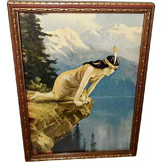 Petite R. Atkinson Fox Print of Indian Maiden on Cliff