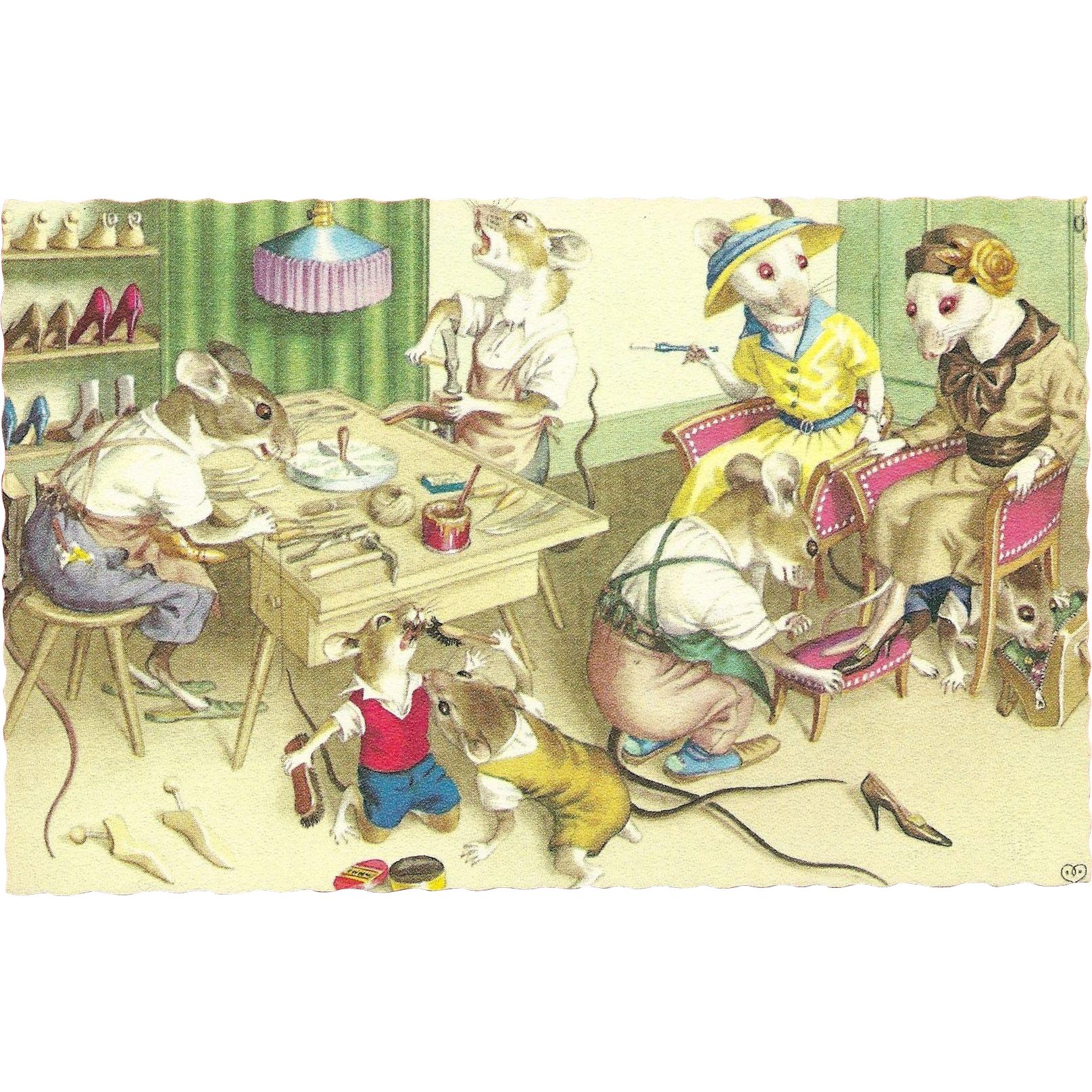 Alfred Mainzer Dressed Mice Postcard - Shoe Store