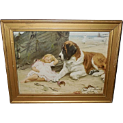 Arthur Elsley Vintage Print of Saint Bernard Guarding Sleeping Girl