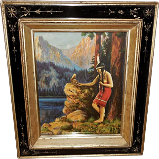Native American Indian Maiden Feeding Squirrel - Eastlake Frame