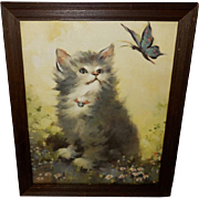 Florence Kroger Vintage Print of Kitten with Butterfly