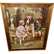 Arthur Elsley Vintage Print of Children with Saint Bernard Dog