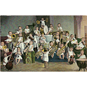 Vintage Orchestra Postcard of Young Children and Babies