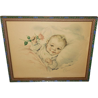 May Farini Vintage Print of Baby with Rose