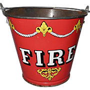 Ohio Art Toy Lithograph Tin Red Fire Bucket with Handle - 1945 to 1958
