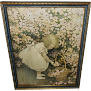 Jessie Willcox Smith Vintage Print of Girl Gathering Rosebuds