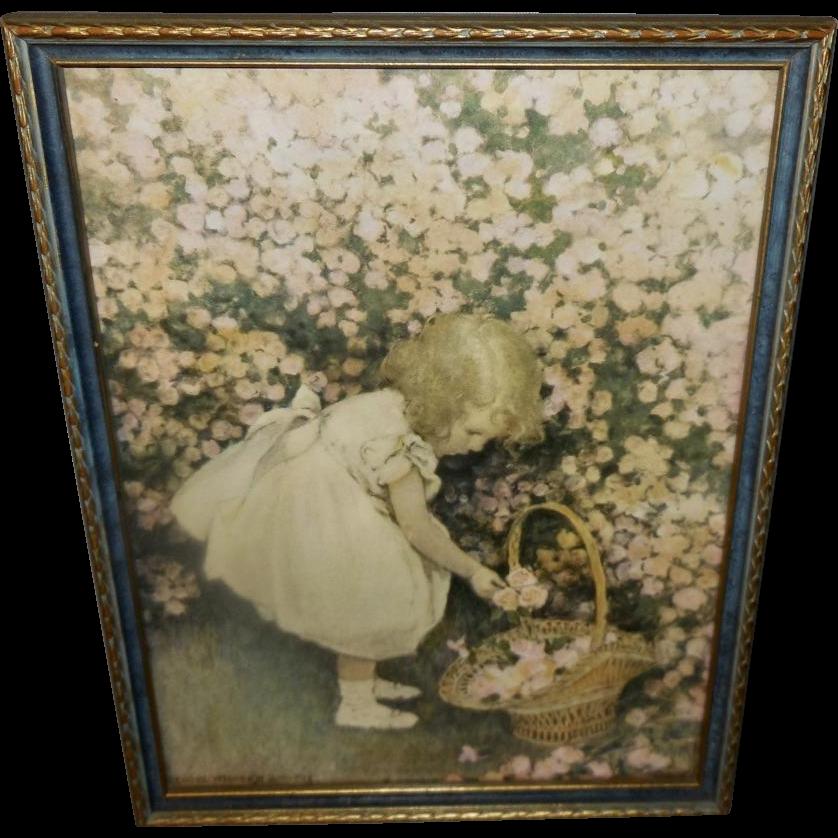 Jessie Willcox Smith Vintage Print of Girl Gathering Rosebuds