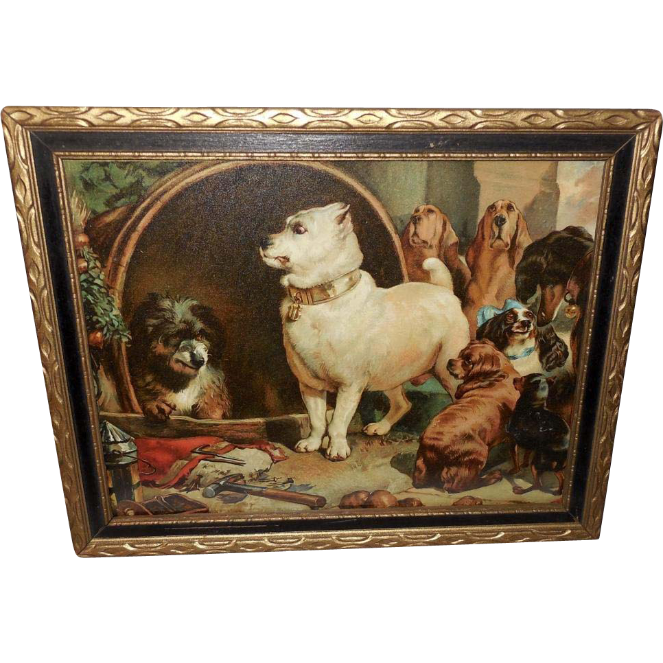 Landseer Chromolithograph of Two Dogs Diogenes and Alexander - 2 of 2